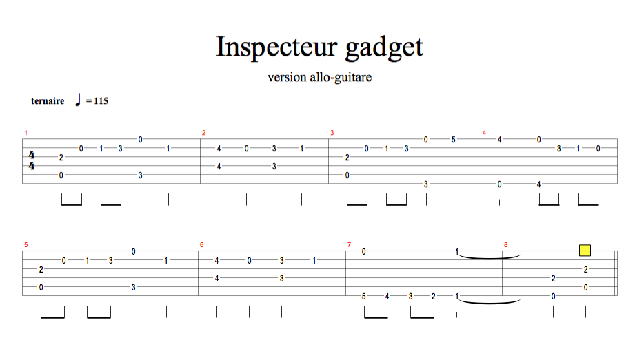 partition guitare inspecteur gadget