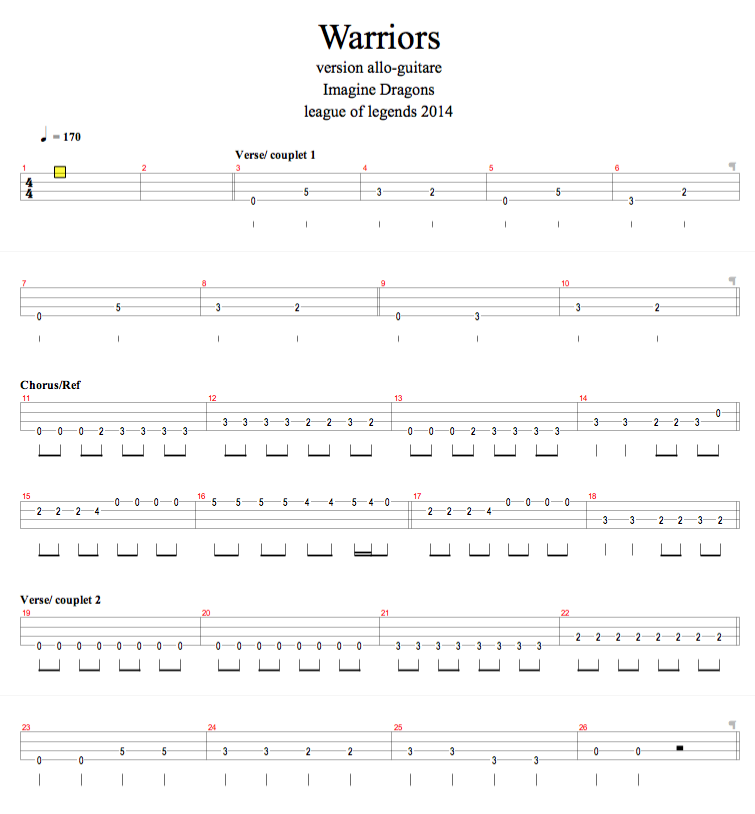 Warriors Imagine Dragons Captain America: Allo-guitare